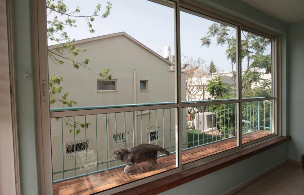 חלונות אלומיניום ותריס חשמלי פתוח - תריסי ניר מבט פנימי 9